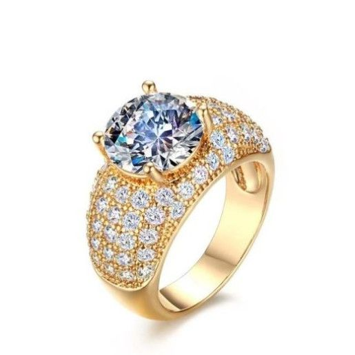Inel placat cu aur de 18 k, cu un cristal multifatetat si pietre zirconia albe - 55