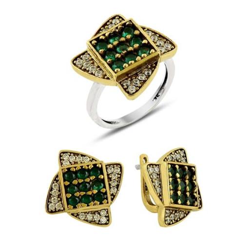 Set argint 925, partial placat cu aur, cu  pietre zirconia emerald green, si zirconia albe - 7418O5185