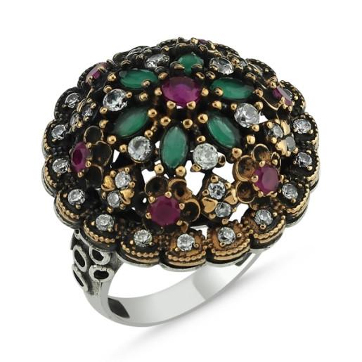 Inel argint 925, cu pietre zirconia multicolore, stil otoman- 7419O9120