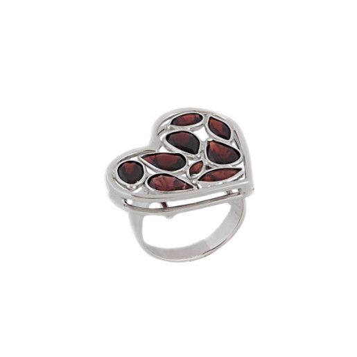 Garnet, inel argint 925, rodiat
