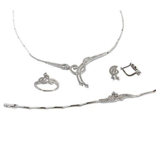 Perfect bride, set argint 925, rodiat cu pietre zirconia, montura micropave