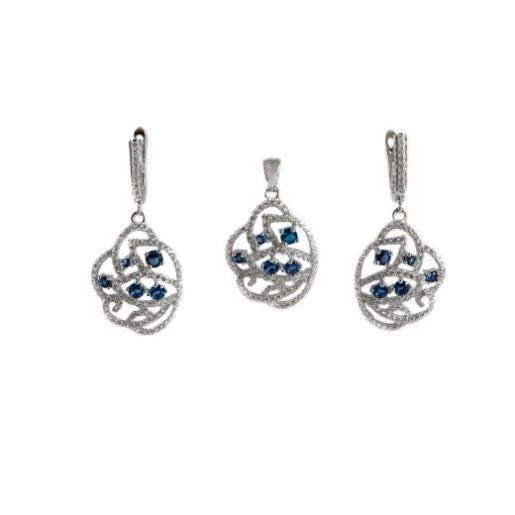 Brilliant, set argint 925 , rodiat cu pietre zirconia albastre si albe