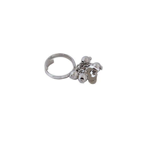 Inel argint 925, rodiat, model cu bilute si inimioare mobile - 7185O952