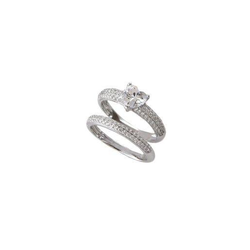 Inel argint 925, rodiat, dublu solitair, detasabil, cu pietricele zirconia montura micropave- 7203O939