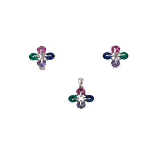 Jessie, set argint 925, rodiat, cu cristale multicolore