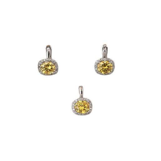 Citrin, set argint 925, rodiat cu cristale galbene si albe