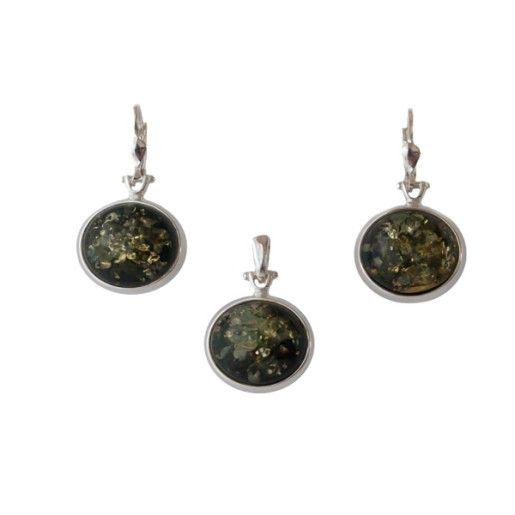 Alison, set argint 925, rodiat, cu chihlimbar verde