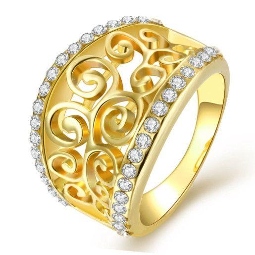 Goldie, inel placat cu aur de 18 k cu pietre zirconia micropave