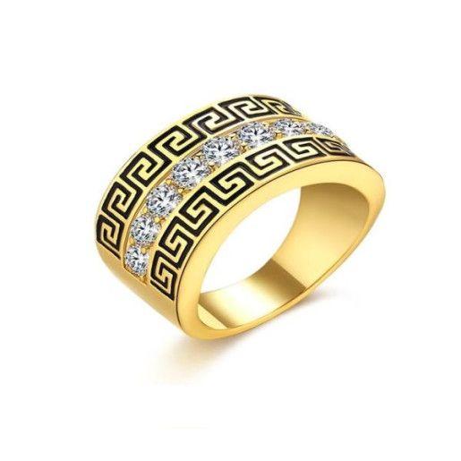 Versace style, inel placat cu aur de 18 k, model verigheta, cu un sir de pietre stralucitoare pe mijloc