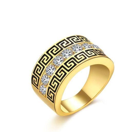 Versace style, inel placat cu aur de 18 k, model verigheta, cu un sir de pietre stralucitoare pe mijloc - 57