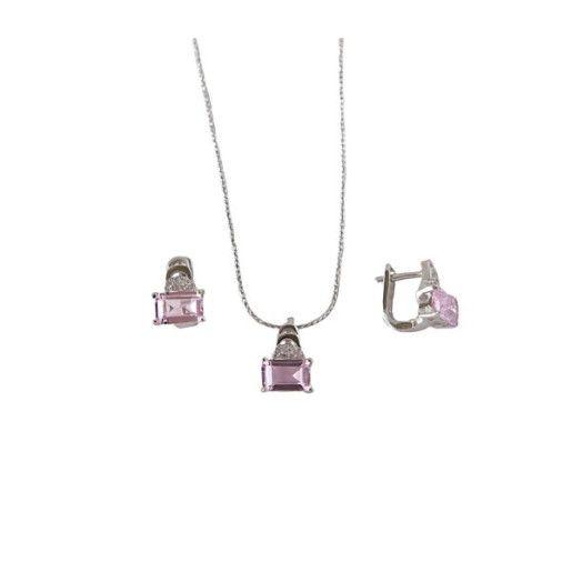 Belinda, set argint 925, rodiat, cu pietre zirconia albe si roz