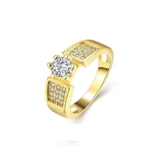 Inel placat cu aur de 18 k, cu montura micropave  - 55