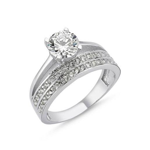 Serena, inel argint 925, rodiat, model verigheta si inel de logodna 7307O939