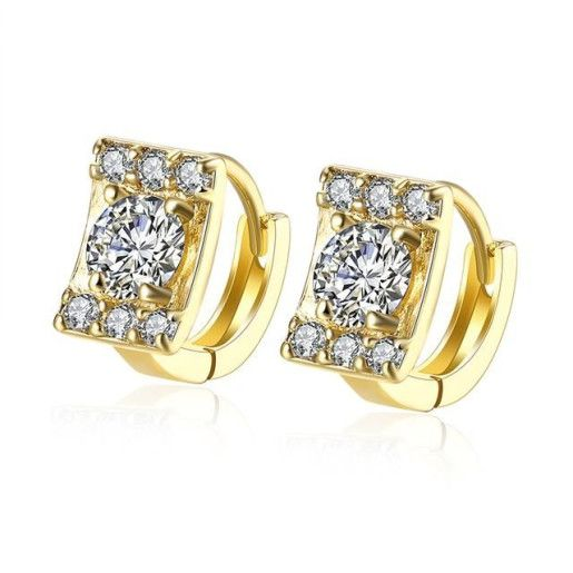 Arabela, cercei placati cu aur de 18 k, 2 microni, cu pietre zirconia albe