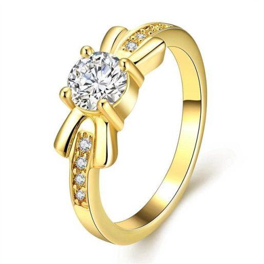 Fancy, inel placat cu aur de 18 k, cu pietre zirconia albe montura micropave - 7333O920