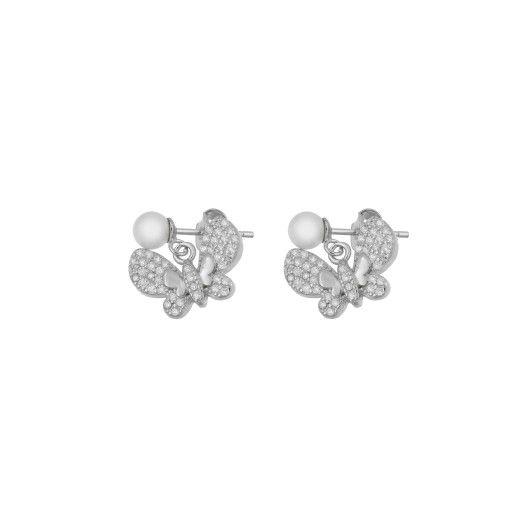Cercei argint 925, rodiat, model fluture - 7357O830
