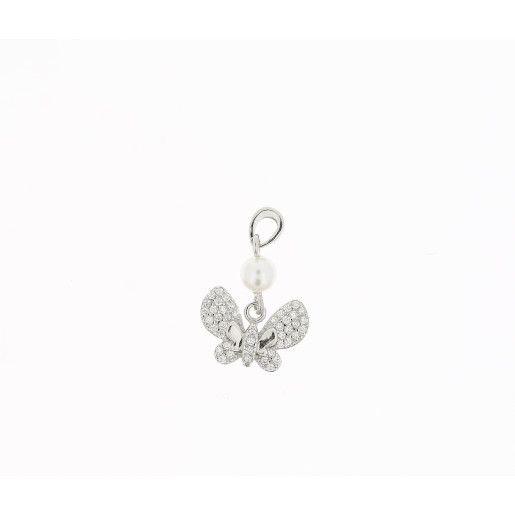 Pandantiv argint 925 , model fluturas cu perla si cristale zirconia, rodiat - 7362O715