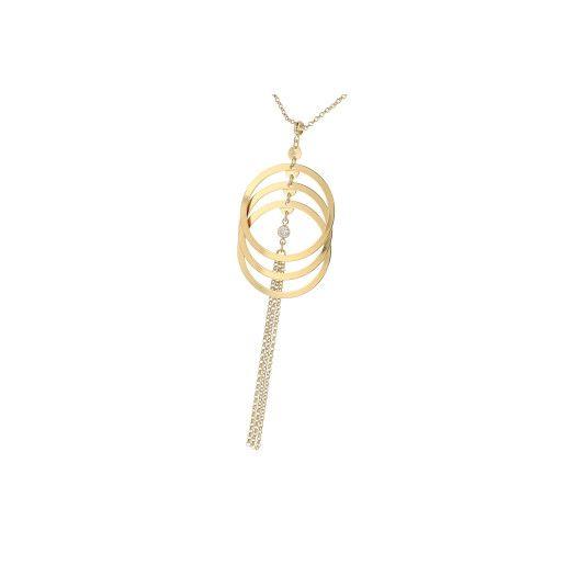 Colier placat cu aur 18 k, 2 microni productie Brazilia, design moden cu cerculete mobile- 7368O3105.