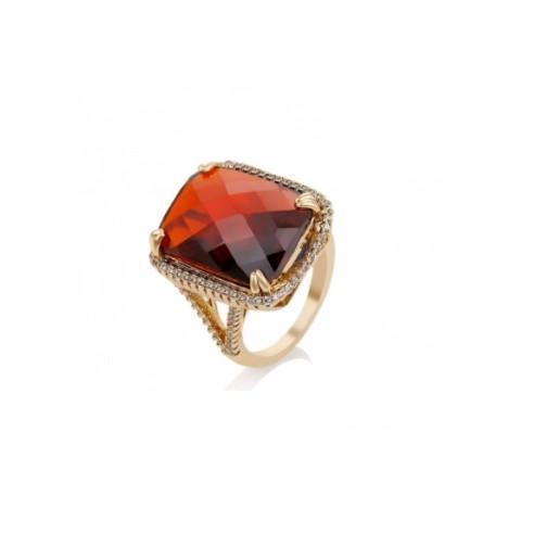 Inel placat cu aur de 18 k, cu cristal rosu de 2 cm lungime/ 1,3 cm latime- 7392O932