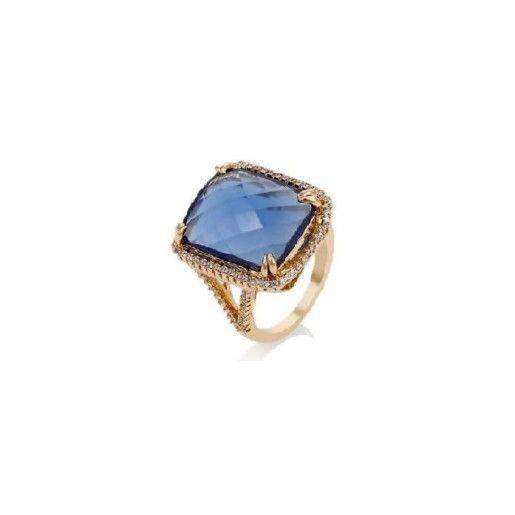Inel placat cu aur de 18 k, cu cristal albastru indigo,  de 2 cm lungime/ 1,3 cm latime- 7393O932