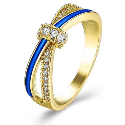 Inel placat cu aur de 18 k, cu cristale zirconia, montura micropave-7399O919