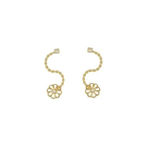 Cercei placati cu aur de 18 k,model floare, productie Brazilia - 7409O814