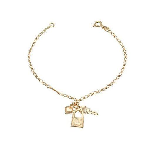 Bratara placata cu aur de 18k, 2 microni, cu pandantiv format din cheita, lacat si inima, productie Brazilia- 7413O418