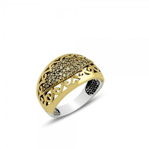 Inel argint 925, partial placat cu aur, cu pietre zirconia albe - 7421O968