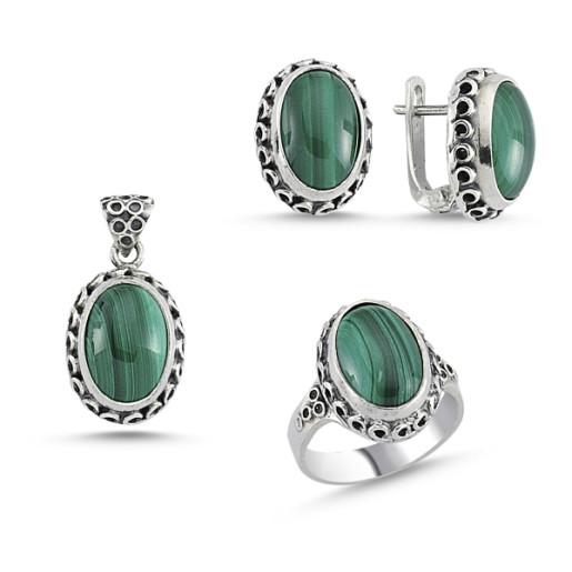 Set argint 925, stil otoman , cu pietre naturale malachite - 7422O5185