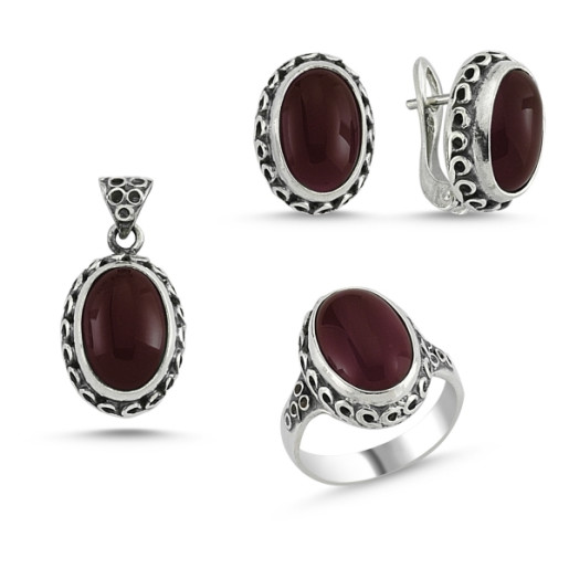 Set argint 925, stil otoman , cu pietre naturale agate maro - 7424O5186