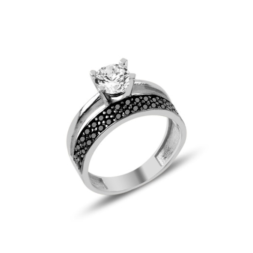 Inel argint 925, colectia wedding, rodiat cu pietre zirconia albe si negre - 7426O935