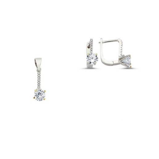 Set argint 925, rodiat, format din cercei si pandantiv, cu piretre zirconia montura micropave - 7434O546