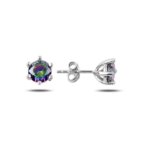 Cercei argint 925, rodiat, inchidere cu fluturas, cu pietre naturale mistic topaz- 7438O817
