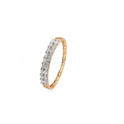 Bratara placata cu aur de 18 K, model fix cu inchizatoare, cu pietre zirconia multifatetate cu aspect de diamant 7443O458
