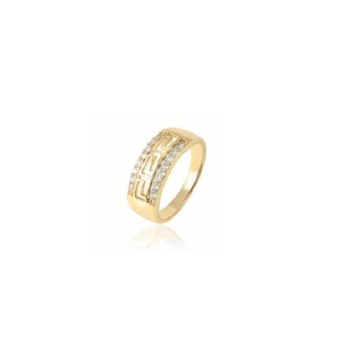Inel placat cu aur de 18k, model grecesc, cu pietricele zirconia 7449O921 marime 56, 59