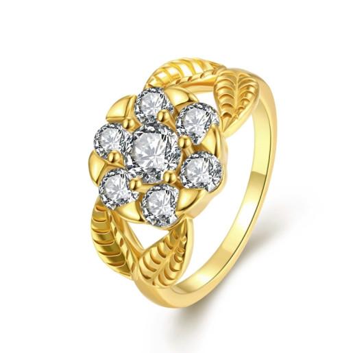 Inel placat cu aur de 18 k, 2 microni, cu pietre zirconia albe - 7452O919