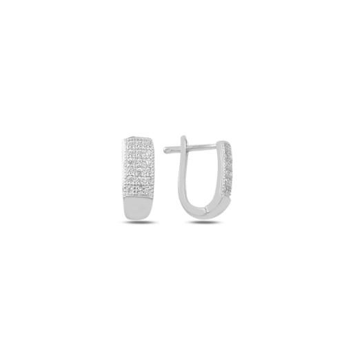 Cercei argint 925, rodiat, inchidere clasica, cu pietre zirconia, montura micropave  7459O827