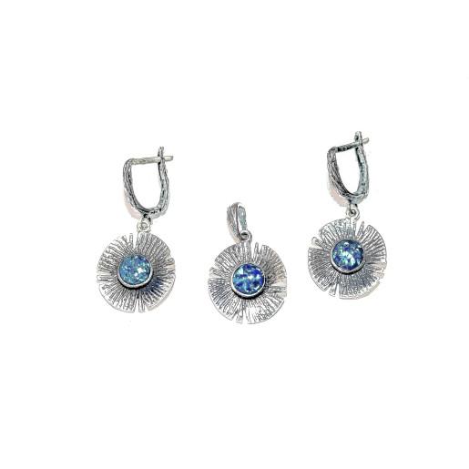 Set argint 925, model vintage, cu piatra naturala opal,  7518O5165