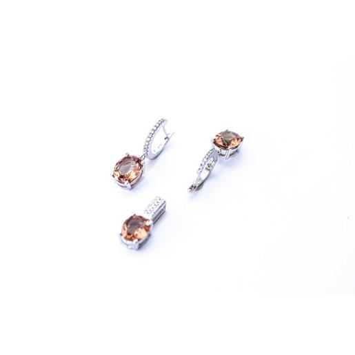 Set argint 925, rodiat, cu pietre naturale sultanit si pietre zirconia 7520O757