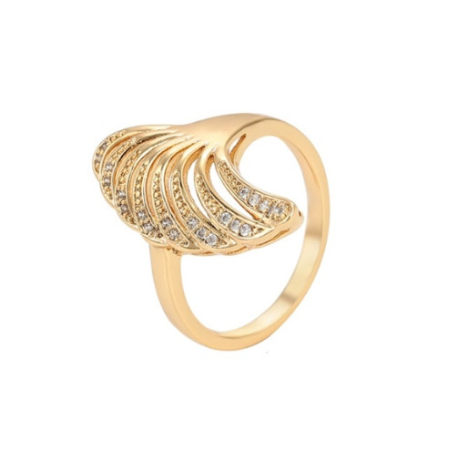 Inel placat cu aur de 18 k,  microni, cu pietre zirconia albe 7527O922
