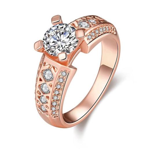 Inel placat cu aur roz , colectia onlinebijoux, cu pietre zirconia albe 7533O923