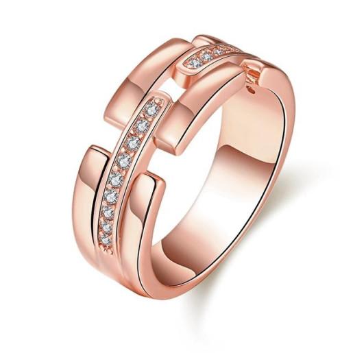 Inel placat cu aur roz , colectia onlinebijoux, cu pietre zirconia albe 7535O919