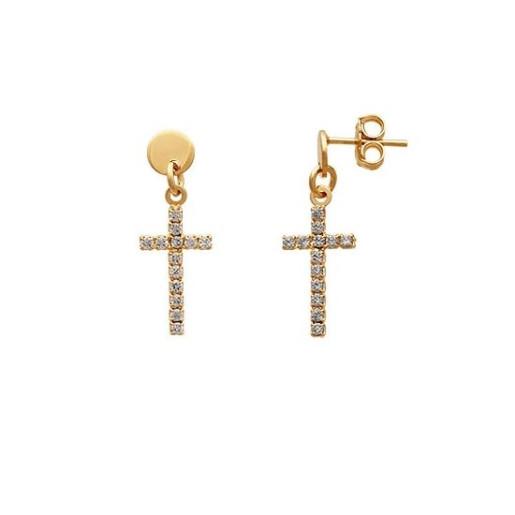 Cercei placati cu aur 18 K, productie Brazilia, cu pietre zirconia multifatetate, model cruciulite, 7594O819