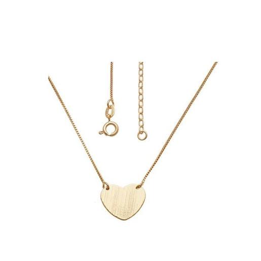 Colier placat cu aur de 18 k, 2 microni, productie Brazilia, colectia onlinebijoux , pandantiv model inimioara - 7561O329