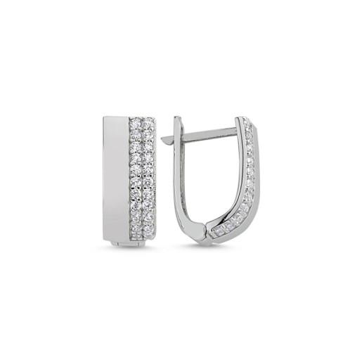 Cercei argint 925, rodiati, cu pietre zirconia albe, inchidere clasica- 7579O841