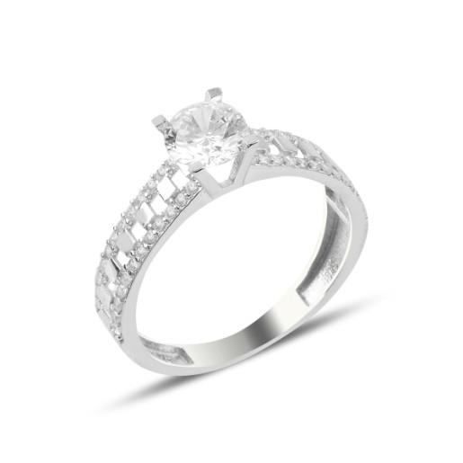 Inel argint 925, rodiat cu pietre zirconia albe, montura micropave 7580O921