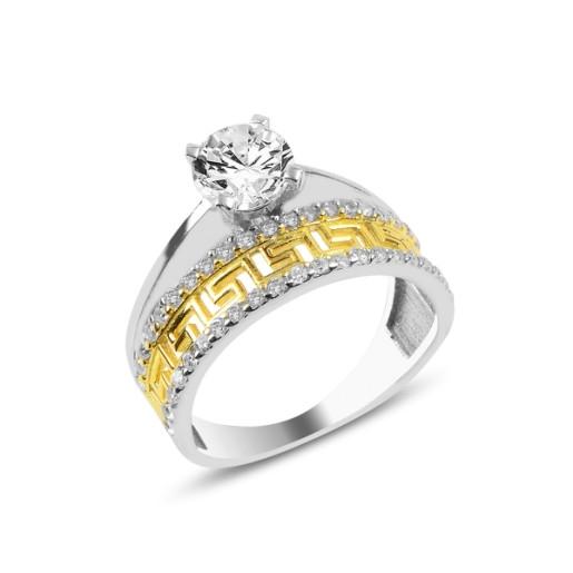 Inel argint 925, rodiat, model inel logodna si verigheta, partial placat cu aur 7583O947