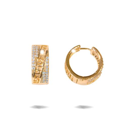 Cercei placati cu aur 18 K,model grecesc cu pietre zirconia montura micropave , 7600O825