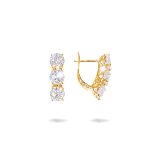 Cercei placati cu aur 18 K, cu pietre zirconia multifatetate , 7601O822