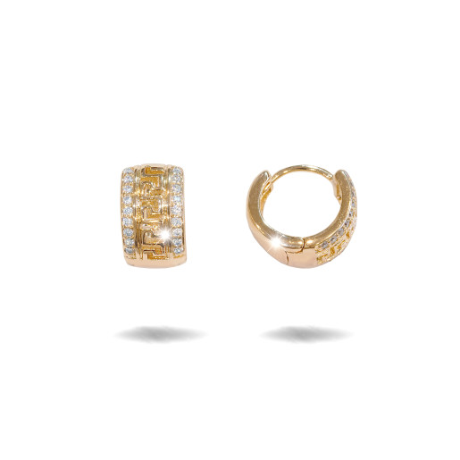 Cercei placati cu aur 18 K,model grecesc cu pietre zirconia montura micropave , 7602O821